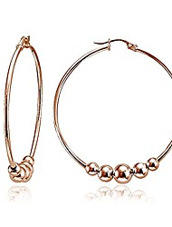 cheap -sterling silver polished and hammered beads round hoop earrings (1 3/4 inch)