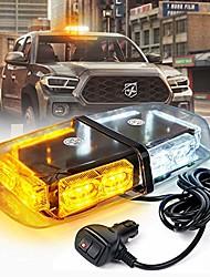 cheap -36 led emergency strobe lights mini bar 16 flashing modes warning beacon light w/magnetic base for law enforcement hazard vehicles, trucks, snow plow, construction cars (white amber/yellow)