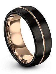 cheap -tungsten wedding band ring 8mm for men women 18k rose gold plated dome center line black brushed polished size 5.5