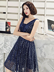 cheap -A-Line Elegant Sparkle Homecoming Cocktail Party Dress Scoop Neck Sleeveless Knee Length Chiffon with Sequin 2020