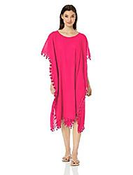 cheap -women's midi amnesia kaftan swimsuit cover up, beach basics persian pink, one size