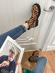 cheap -Women's Boots Flat Heel Round Toe Daily PU Almond Yellow