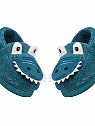 cheap -toddler boys girls cute dinosaur slippers kids house slippers toddler slip resistant indoor home shoes blue