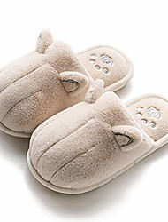 cheap -girls boys cute cat slippers warm plush fur lined animal slippers slip on indoor home shoes for toddler/little kids beige