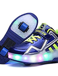 cheap -kids boys girls led glowing sneakers single wheel double wheel high-top shoes roller skate shoes (13 m us=eu29, double wheel/blue)