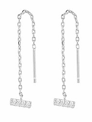 cheap -14k gold plated sterling silver bar threader earrings for women in white gold