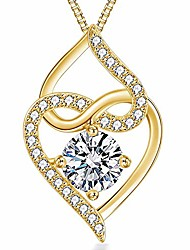 cheap -heart necklace-5a cubic zirconia heart pendant necklace-14k yellow gold plated infinity heart necklaces for women-jewelry gifts necklaces for women