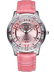 cheap -luxury fashion casual luminous sport dress rhinestone waterproof women quartz leather watch