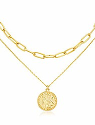 cheap -lane woods layered 18k gold plated necklaces for women - dainty layered choker necklace adjustable layering coin medallion pendant necklace for women girls jewelry (style-1)