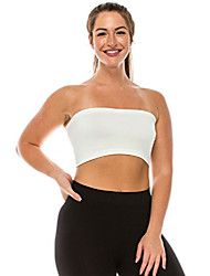 cheap -women's strapless tube top - seamless bandeau bra crop tank tops stretch bralette upf 50+ (non-padded) -made in usa- off white