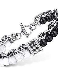 cheap -white turquoise black glass beaded bracelet for men womens gunmetal stainless steel rolo cable link chain bracelet 10inch