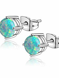 cheap -6mm opal stud earrings surgical steel piercing earrings double lobe earrings for women men (green)