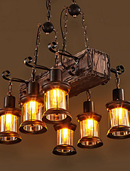 cheap -55cm LED Long Retro Strip Wooden Chandelier With Glass Shade Rope 6 Heads Pendant Light Warm White Lights Decorative Lighting Fixture Retro Rustic Antique Ceiling Lamp AC110V AC220V