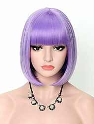 cheap -bob wig 12'' purple wig short wig with bangs synthetic halloween party cosplay wigs average size