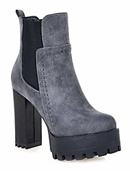 cheap -women's platform high heeled ankle booties round toe chelsea waterproof elastic martin short boots gray grey