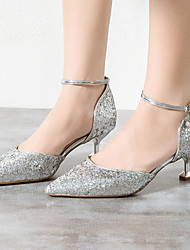 cheap -Women's Wedding Shoes Kitten Heel Pointed Toe Classic Sexy Preppy Wedding Party & Evening Synthetics Rhinestone Solid Colored Summer Almond Blue Pink