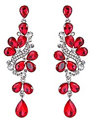 cheap -wedding bridal dangle earrings for women victorian style crystal cluster teardrop leaves dangle earrings ruby color silver-tone