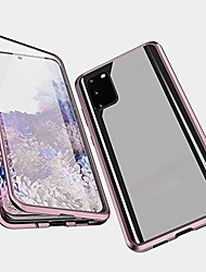 cheap -magnetic adsorption case for samsung galaxy s20, 360 degree front and back clear tempered glass flip cover, metal bumper frame for samsung galaxy s20 (rose gold)