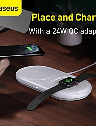 cheap -Baseus 2 In 1 10W Wireless Charger Phone Charger Watch Charger Fast Charging Wireless Pad Dock + 24W EU Plug USB Wall Charger + 1m 3A USB Type-C Cable