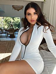cheap -Women's Shift Dress Short Mini Dress - Long Sleeve Solid Color Fall Sexy Slim 2020 White S M L