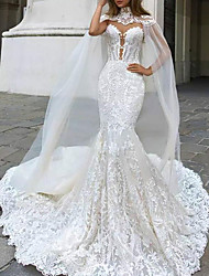 cheap -A-Line Wedding Dresses High Neck Chapel Train Lace Strapless Glamorous See-Through Illusion Detail Backless with 2020