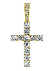 cheap -rhinestone round cut cross pendant 18k gold plated cz diy jewelry