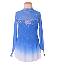 cheap -Figure Skating Dress Women's Girls' Ice Skating Dress Sky Blue+White Spandex High Elasticity Competition Skating Wear Patchwork Crystal / Rhinestone Long Sleeve Ice Skating Figure Skating / Kids