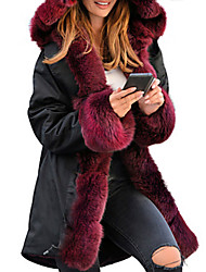 cheap -Women's Faux Fur Coat Long Solid Colored Daily Black Camel S M L XL