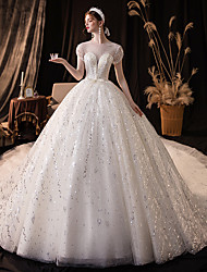cheap -Ball Gown Wedding Dresses Bateau Neck Chapel Train Lace Cap Sleeve Formal Romantic Elegant with Pleats Beading 2021