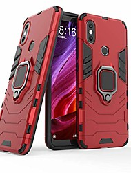 cheap -xiaomi mi a2 case, xiaomi mi 6x case,  2 in 1 ring armor design [360 degree rotation ring holder] shock absorbing dual layer bumper protective defender case for xiaomi mi a2 / mi 6x (red)