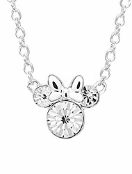 cheap -minnie mouse crystal birthstone silver plated pendant necklace, april silver clear crystal