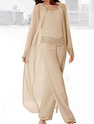 cheap -Pantsuit / Jumpsuit Mother of the Bride Dress Elegant Jewel Neck Floor Length Chiffon Satin Long Sleeve with Sequin 2021