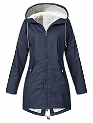 cheap -women solid winter warm thick outdoor plus size hooded raincoat windproof hoodies outerwear sweatshirt coat overcoat navy
