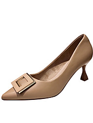 cheap -Women's Heels Stiletto Heel Pointed Toe Classic Daily PU Solid Colored Almond Black Beige / 2-3