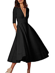 cheap -Women's A-Line Dress Midi Dress - 3/4-Length Sleeve Solid Color Summer Classic & Timeless Chic & Modern 2020 Navy Creamy-white Pink White Black Blue Red Blushing Pink Wine S M L XL XXL XXXL