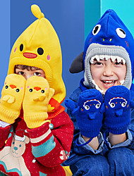 cheap -2pcs Kids Unisex Active Cartoon Mittens Gloves Blue / Yellow / Blushing Pink