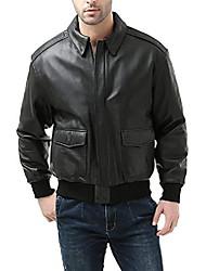 cheap -men's premium air force a-2 goatskin leather flight bomber jacket black big 4xl