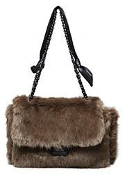 cheap -Women's Bags Faux Fur Crossbody Bag Buttons Chain Fur Bag Daily Outdoor Black Blue Red Brown