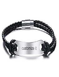 cheap -pj free engraving custom stainless steel double black pu leather magnetic clasp bracelet for men
