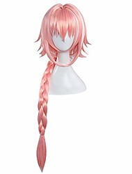 cheap -astolfo cosplay wig long braided pink hair (pink)