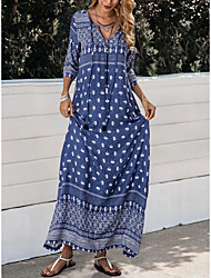 cheap -Women's Shift Dress Maxi long Dress Blue 3/4 Length Sleeve Print Lace up Patchwork Print Fall V Neck Casual 2021 M L XL XXL 3XL