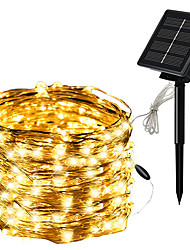 cheap -10m 20m String Lights 100-200 LEDs EL 1pc Warm White White Red Valentine's Day Christmas Waterproof Outdoor Solar Solar Powered