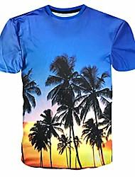 cheap -allywit 2019 new mens coconut tree print t shirt short sleeve tee tops blouse cotton summer shirt blue