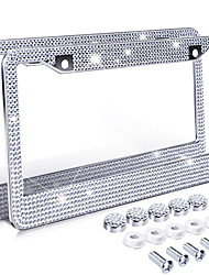 cheap -1pc Bling Crystal License Plate Frame Women Luxury Handcrafted Rhinestone Car Frame Plate with Ignition Button fit for U.S model