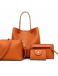 cheap -2020 women shoulder messenger bag purse set 4 pcs leather zipper handbag solid shoulder messenger bag purse set (black)