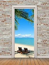cheap -Self-adhesive Seaside Scenery Creative Door Stickers For Living Room DIY Decorative Home Waterproof Wall Stickers