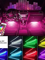 cheap -car interior light yi-shaney car led strip lights 4pcs 48 led bluetooth app control atmosphere lights multicolor music under dash car strip lighting kit for diy car indoor party (car cigarettet)