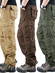 cheap -Men's Hiking Pants Trousers Hiking Cargo Pants Solid Color Summer Outdoor Windproof Comfort Wear Resistance Multi Pockets Cotton Pants / Trousers Bottoms Black Yellow Army Green Blue Khaki Camping