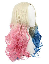 cheap -yuehong two colors wavy long curly synthetic hair gradual dyeing cosplay wig