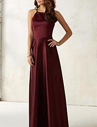 cheap -A-Line Jewel Neck Floor Length Stretch Satin Bridesmaid Dress with